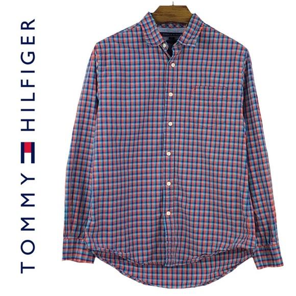 b9334d72 Tommy Hilfiger Shirts | Orange Custom Fit Check Shirt | Poshmark